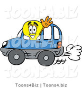 Illustration of a Cartoon Light Bulb Mascot Driving a Blue Car and Waving by Toons4Biz