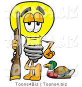 Illustration of a Cartoon Light Bulb Mascot Duck Hunting, Standing with a Rifle and Duck by Toons4Biz