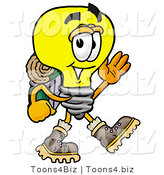Illustration of a Cartoon Light Bulb Mascot Hiking and Carrying a Backpack by Toons4Biz