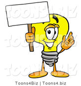 Illustration of a Cartoon Light Bulb Mascot Holding a Blank Sign by Toons4Biz