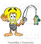 Illustration of a Cartoon Light Bulb Mascot Holding a Fish on a Fishing Pole by Toons4Biz