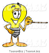 Illustration of a Cartoon Light Bulb Mascot Holding a Pointer Stick by Toons4Biz