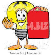 Illustration of a Cartoon Light Bulb Mascot Holding a Red Sales Price Tag by Toons4Biz