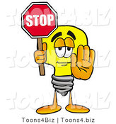 Illustration of a Cartoon Light Bulb Mascot Holding a Stop Sign by Toons4Biz