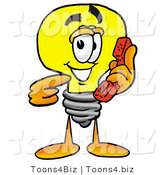 Illustration of a Cartoon Light Bulb Mascot Holding a Telephone by Toons4Biz