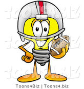 Illustration of a Cartoon Light Bulb Mascot in a Helmet, Holding a Football by Toons4Biz