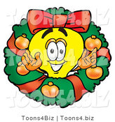 Illustration of a Cartoon Light Bulb Mascot in the Center of a Christmas Wreath by Toons4Biz