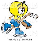 Illustration of a Cartoon Light Bulb Mascot Playing Ice Hockey by Toons4Biz