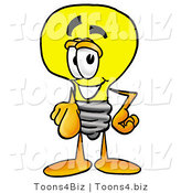 Illustration of a Cartoon Light Bulb Mascot Pointing at the Viewer by Toons4Biz