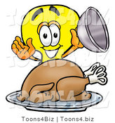 Illustration of a Cartoon Light Bulb Mascot Serving a Thanksgiving Turkey on a Platter by Toons4Biz