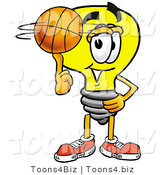 Illustration of a Cartoon Light Bulb Mascot Spinning a Basketball on His Finger by Toons4Biz