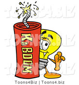 Illustration of a Cartoon Light Bulb Mascot Standing with a Lit Stick of Dynamite by Toons4Biz