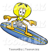 Illustration of a Cartoon Light Bulb Mascot Surfing on a Blue and Yellow Surfboard by Toons4Biz