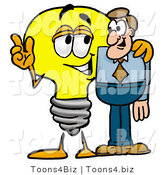 Illustration of a Cartoon Light Bulb Mascot Talking to a Business Man by Toons4Biz