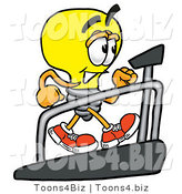 Illustration of a Cartoon Light Bulb Mascot Walking on a Treadmill in a Fitness Gym by Toons4Biz