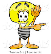 Illustration of a Cartoon Light Bulb Mascot Waving and Pointing by Toons4Biz
