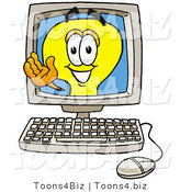 Illustration of a Cartoon Light Bulb Mascot Waving from Inside a Computer Screen by Toons4Biz