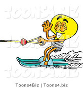 Illustration of a Cartoon Light Bulb Mascot Waving While Water Skiing by Toons4Biz