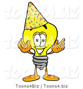 Illustration of a Cartoon Light Bulb Mascot Wearing a Birthday Party Hat by Toons4Biz
