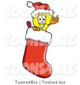 Illustration of a Cartoon Light Bulb Mascot Wearing a Santa Hat Inside a Red Christmas Stocking by Toons4Biz