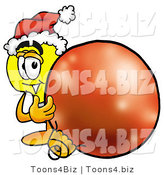 Illustration of a Cartoon Light Bulb Mascot Wearing a Santa Hat, Standing with a Christmas Bauble by Toons4Biz