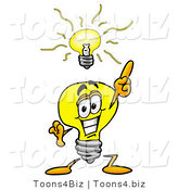 Illustration of a Cartoon Light Bulb Mascot with a Bright Idea by Toons4Biz