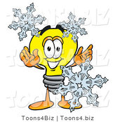 Illustration of a Cartoon Light Bulb Mascot with Three Snowflakes in Winter by Toons4Biz