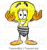Illustration of a Cartoon Light Bulb Mascot with Welcoming Open Arms by Toons4Biz