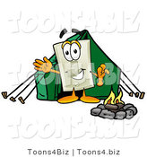 Illustration of a Cartoon Light Switch Mascot Camping with a Tent and Fire by Toons4Biz
