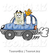 Illustration of a Cartoon Light Switch Mascot Driving a Blue Car and Waving by Toons4Biz