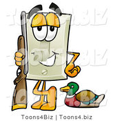 Illustration of a Cartoon Light Switch Mascot Duck Hunting, Standing with a Rifle and Duck by Toons4Biz