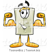 Illustration of a Cartoon Light Switch Mascot Flexing His Arm Muscles by Toons4Biz