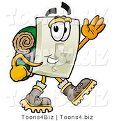 Illustration of a Cartoon Light Switch Mascot Hiking and Carrying a Backpack by Toons4Biz
