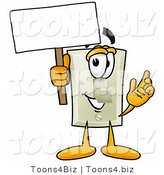 Illustration of a Cartoon Light Switch Mascot Holding a Blank Sign by Toons4Biz