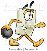 Illustration of a Cartoon Light Switch Mascot Holding a Bowling Ball by Toons4Biz