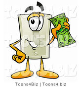 Illustration of a Cartoon Light Switch Mascot Holding a Dollar Bill by Toons4Biz
