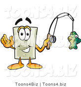 Illustration of a Cartoon Light Switch Mascot Holding a Fish on a Fishing Pole by Toons4Biz