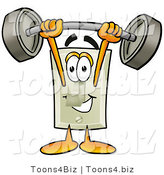 Illustration of a Cartoon Light Switch Mascot Holding a Heavy Barbell Above His Head by Toons4Biz