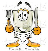 Illustration of a Cartoon Light Switch Mascot Holding a Knife and Fork by Toons4Biz