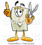 Illustration of a Cartoon Light Switch Mascot Holding a Pair of Scissors by Toons4Biz