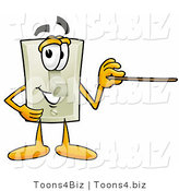 Illustration of a Cartoon Light Switch Mascot Holding a Pointer Stick by Toons4Biz