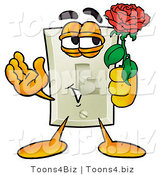 Illustration of a Cartoon Light Switch Mascot Holding a Red Rose on Valentines Day by Toons4Biz