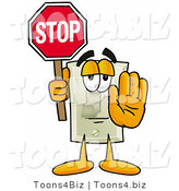 Illustration of a Cartoon Light Switch Mascot Holding a Stop Sign by Toons4Biz