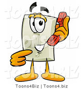 Illustration of a Cartoon Light Switch Mascot Holding a Telephone by Toons4Biz