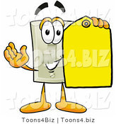 Illustration of a Cartoon Light Switch Mascot Holding a Yellow Sales Price Tag by Toons4Biz