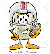 Illustration of a Cartoon Light Switch Mascot in a Helmet, Holding a Football by Toons4Biz
