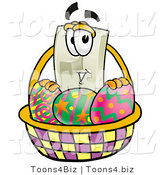 Illustration of a Cartoon Light Switch Mascot in an Easter Basket Full of Decorated Easter Eggs by Toons4Biz
