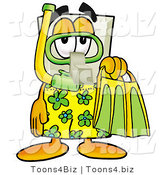 Illustration of a Cartoon Light Switch Mascot in Green and Yellow Snorkel Gear by Toons4Biz