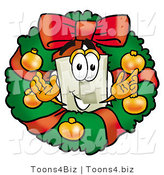 Illustration of a Cartoon Light Switch Mascot in the Center of a Christmas Wreath by Toons4Biz