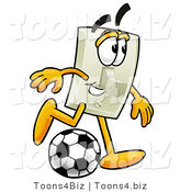 Illustration of a Cartoon Light Switch Mascot Kicking a Soccer Ball by Toons4Biz
